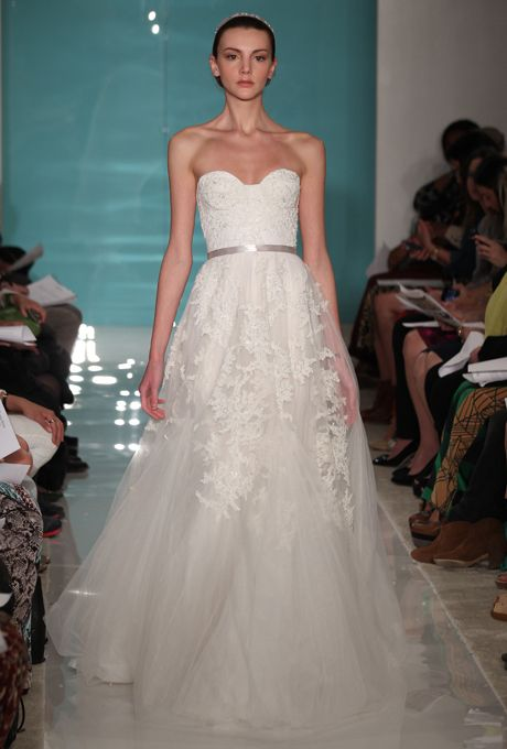 "Brides.com: Our Favorite Lace Wedding Dresses from the Bridal Runways. ""Heavenly lace"" wedding dress, Reem Acra  See more Reem Acra wedding dresses."