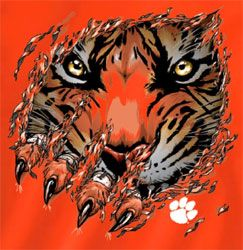 clemson tiger | Clemson Tigers Football T-Shirts - Ripped - Tiger Claws
