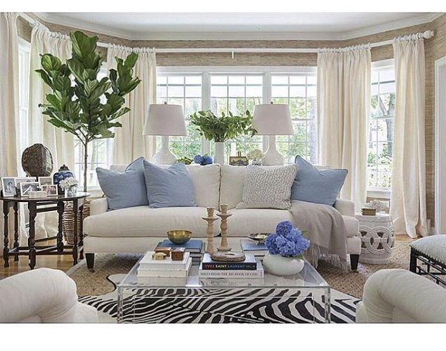 Family Room Design, Family Rooms, Kate Jackson, Zebra Rugs, Zebra Skin Rug, Decorating  Living Rooms, Blue Pillows, Blue And White, Zebras