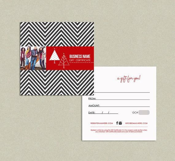 Zig Zag Holiday Double Sided Gift Certificate Design By Deidamiah, $8.99