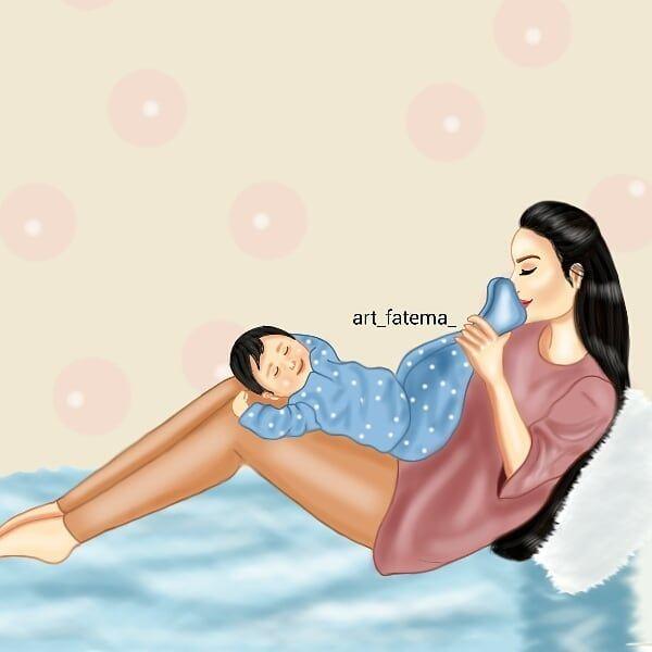 ازدادت عائلتنا قطعة سكر فيارب اجعله من مواااليد السعاده رسمتي امي Ilustracion De Bebe Amor De Madre Papa E Hijo
