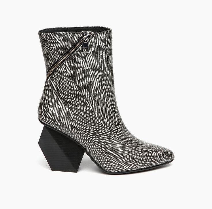 Rocky Short Boot Hi Black White Mix with geometric heel