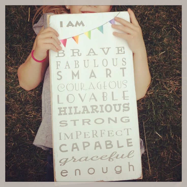 I am Brave ... I am Enough with Bunting Typography Word Art Sign - Motivational - New Fun Size. $85.00, via Etsy.