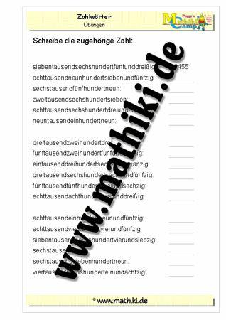 Zahlwörter lesen bis 10000 - mathiki.de: Mathe kann so einfach sein! Verbessere mit diesen Arbeitsblättern und tausend anderen Übungen Deine Mathekenntnisse! #math #arbeitsblaetter #worksheet #mathematik #matheindergrundschule #grundschule #mathiki #mathikionlinecamp #klasse4 #grade4
