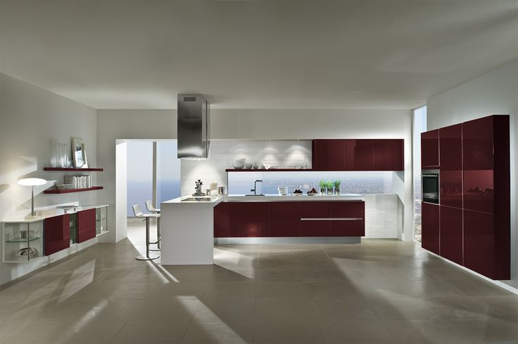Wine Red high gloss kitchen, certainly one of a kind!