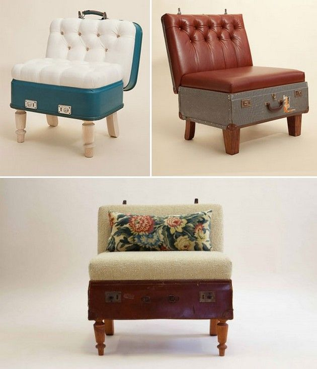 Re-purposed Furniture Luggage. This would be perfect for a kids chair!!! I need to remember this :]