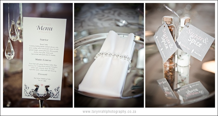 Napkin ring , menu stand and favour can spice up table.