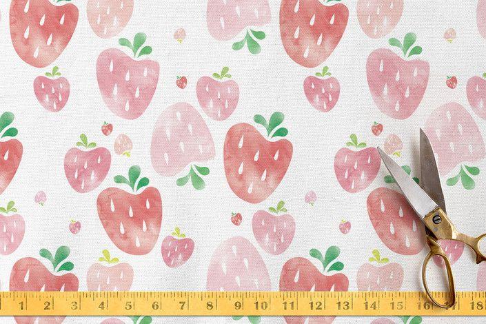 Strawberry Fields Fabric by Shirley Lin Schneider   Minted