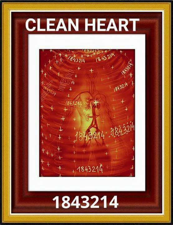 """ Clean heart "" Cleaning vein ..artery ..capillary whole blood and hearts of all of us . Sequence 1843214 who enters your sphere of healing and triggers all vessels and tubules and heart"