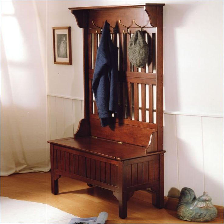 Superb Storage Benches For Halls Part - 7: Full Hall Tree Storage Bench In Cherry