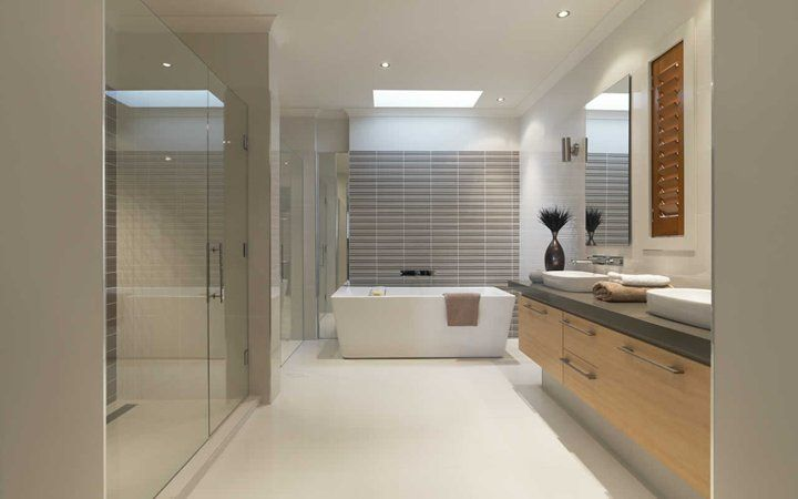 Bath is the feature and the shower is massive on the side.