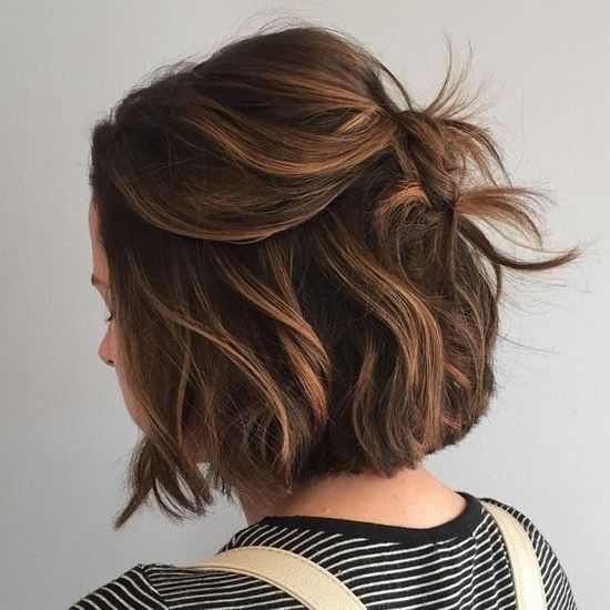 Half-Up Bob with Caramel Highlights Well-blended highlights boost the texture of your hair and minimize Youre styling time