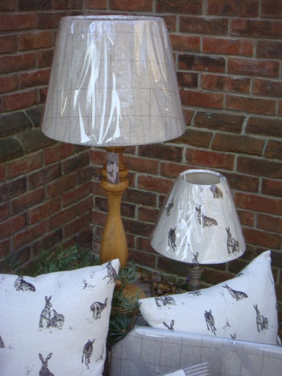 a beautiful lampshade made in the uk in 100% wool fabric, checked , 12 inch == 30 cms
