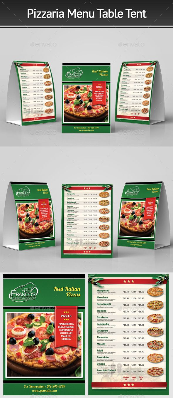 Pizzeria Menu Table Tent Template #design Download: http://graphicriver.net/item/pizzeria-menu-table-tent-3/12463044?ref=ksioks