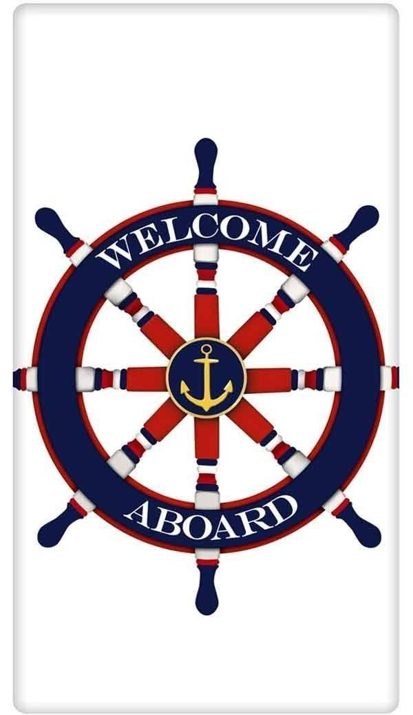 Welcome Aboard Nautical Ship's Wheel 100% Cotton Flour Sack Dish Towel Tea Towel