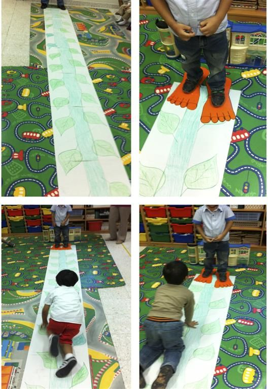 "Jack and the Beanstalk. My kids had fun ""climbing up"" the beanstalk and finding the giant's feet waiting for them."