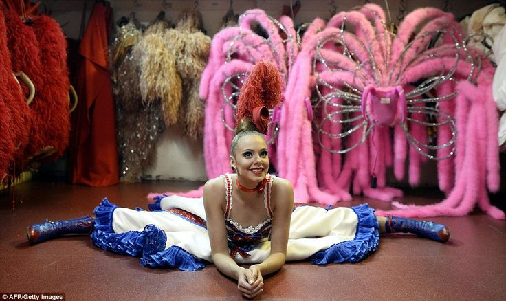 Ready for action: A dancer from the Moulin Rouge shows off her calf-length Maison Clairvoy... http://dailym.ai/S0OAMY#i-acb70e8c