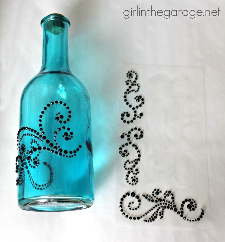 Bejeweled Bottles {Michaels and Hometalk Pinterest Party Craft} | Girl in the Garage