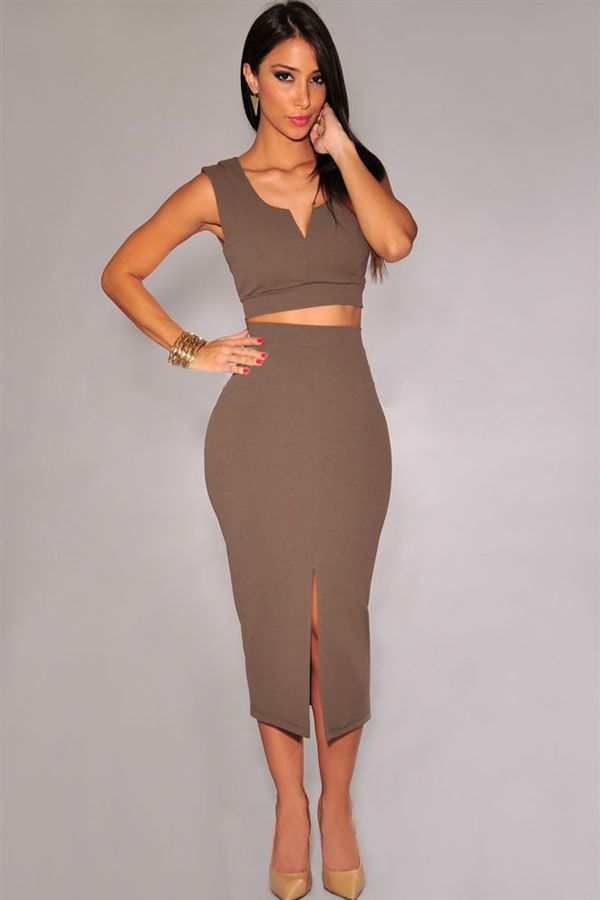 Coffee Front Slit Two Piece Midi Skirt Set