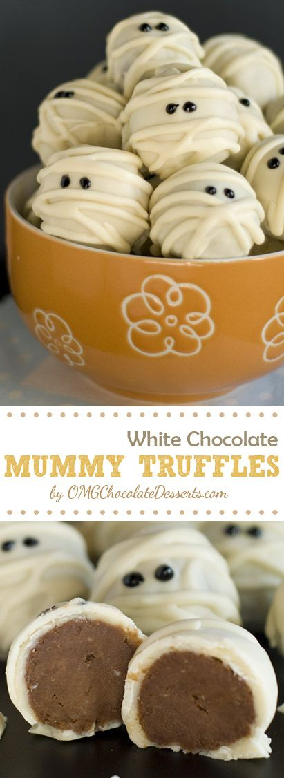 Do not be scared!!! This is only sweet Halloween chocolate treat - White Chocolate Mummy Truffles