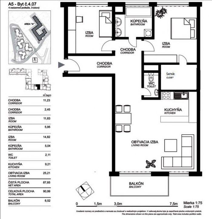 план квартиры, схема, трехкомнатная квартира, продажа Братислава Словакия.