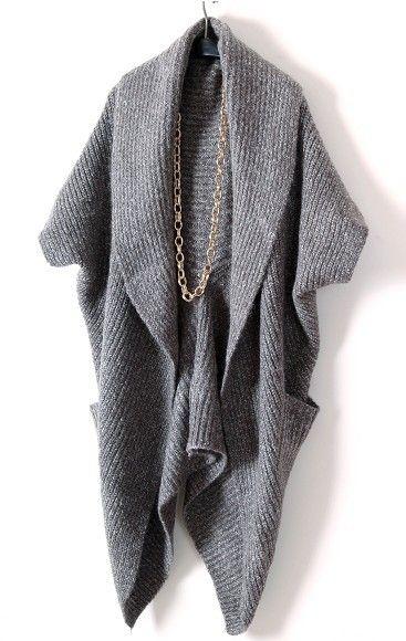 Cinza manga comprida Bolsos Cabo suéter