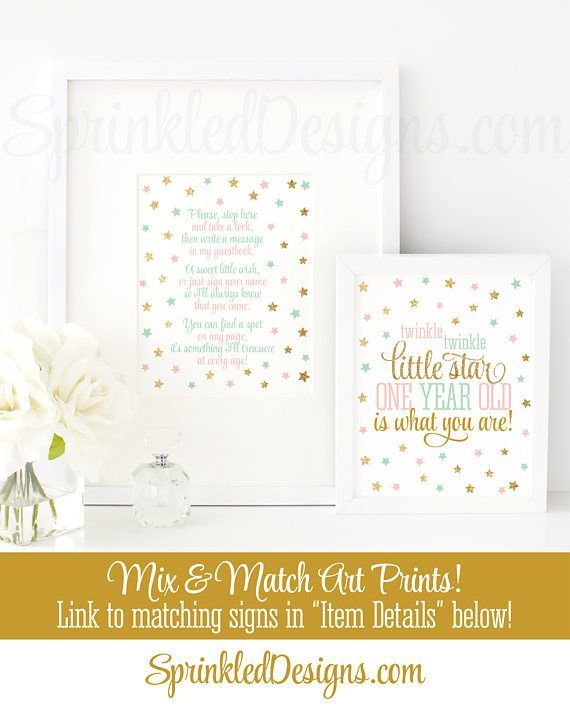 Birthday Guest Book Sign Printable, Please Sign My Book, Twinkle Twinkle Little Star Birthday Party Decorations, Blush Pink Mint Green Gold - SprinkledDesigns.com