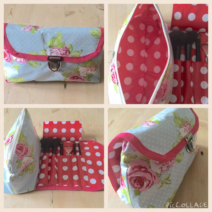 Oilcloth makeup bag and brush roll from Sew Sew Easy pattern