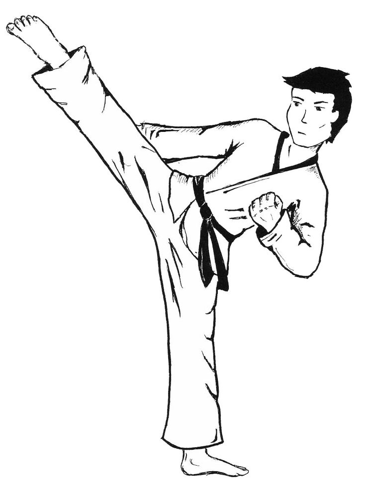 Kicking Drills Coloring Pages For Kids Printable Boxing Judo And Karate