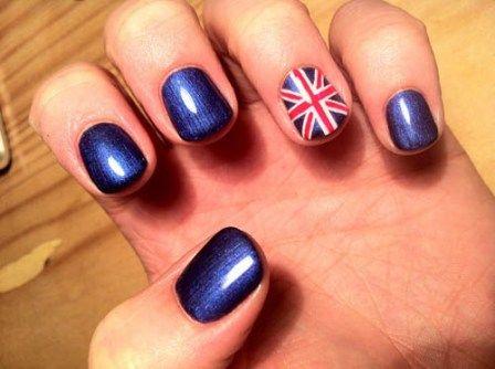 Great Britain Flag Shellac Nail Design