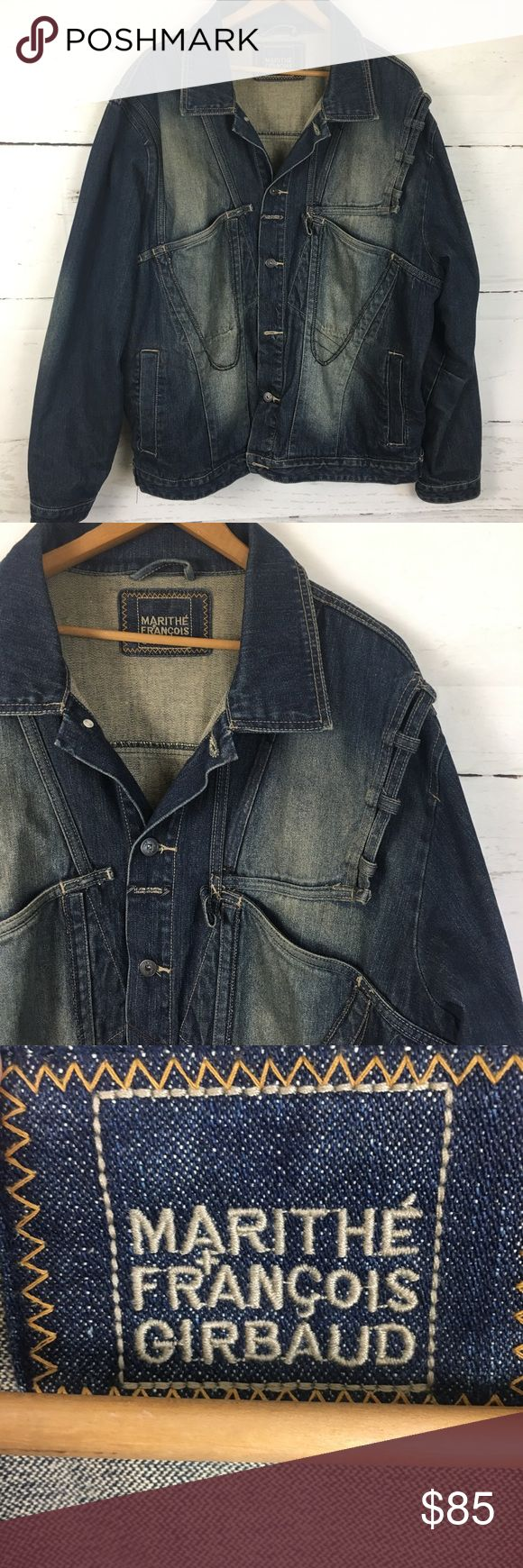 """Marithe Francois Girbaud Men's Jean Jacket 100% Cotton, Preowned, excellent condition, Distressed. Approximate measurements: 50"""" chest, 21"""" shoulder, 27.5 length, 27"""" Sleeve. Detailed, Distressed, Jean Jacket with big pockets from Marithe Francois Girbaud. Marithe Francois Girbaud Jackets & Coats"""