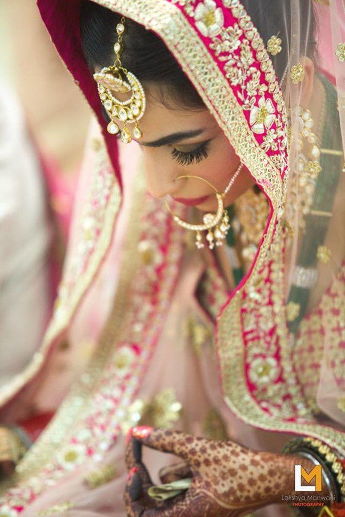 Bridal Wear - The Pretty Bride! Photos, Hindu Culture, Beige Color, Make Up, Bridal Makeup, Mangtika pictures, images, vendor credits - Lakshya Manwani Photography, WeddingPlz