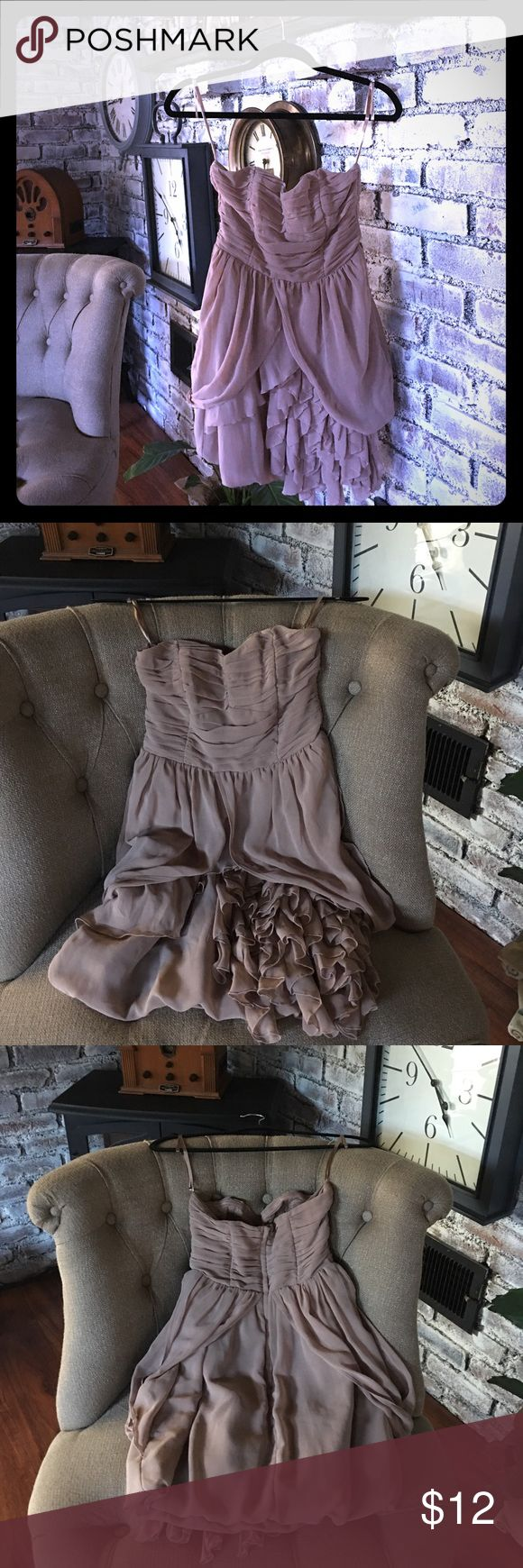 H&M dark beige mini dress size small Get ready for the spring season!!! The weddings and upcoming graduations. This dress is perfect for those occasions :) Get it here for the fraction of the cost. Strapless with built in liner. Size small and excellent condition. H&M Dresses Mini