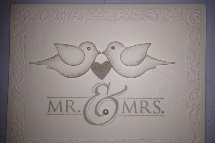 Card. Stampin' Up!  Bird punch. Wedding.