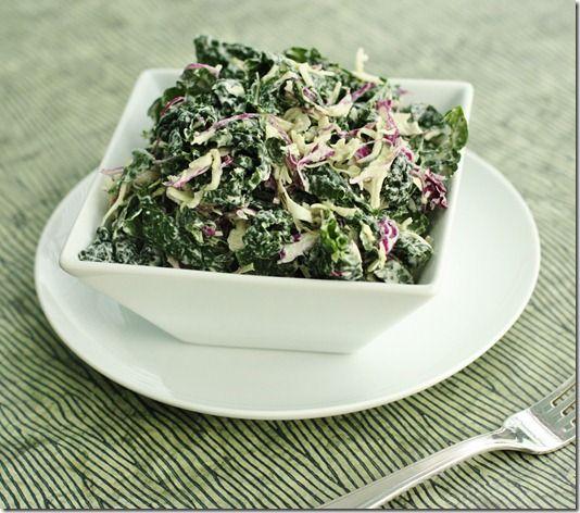 Kale-Slaw: Dinosaur Kale and Cabbage Slaw with Creamy Cashew Hemp Dressing