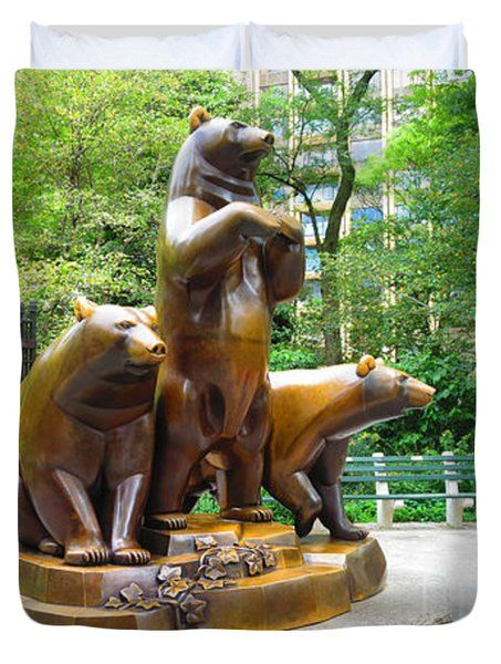 Three Bronze Sculpture Statue of Bears great attraction at New York NY Central Park by NavinJoshi Duvet Cover by NAVIN JOSHI