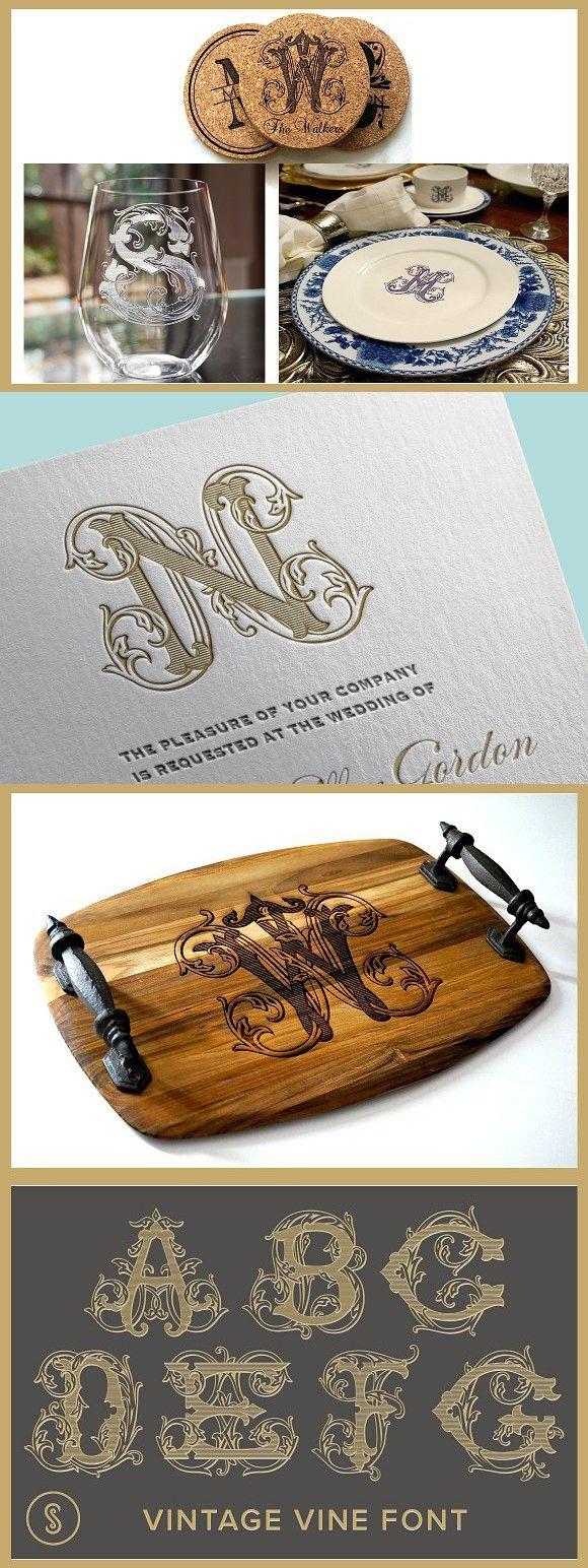 Vintage Vine Font #monogram #weddinginvitation