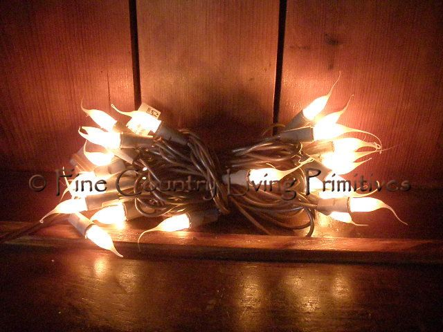 Primitive Christmas String Lights : Primitive Silicone Tipped String Lights on Brown Cord ~ 50 Count. Perfect for Christmas Trees ...