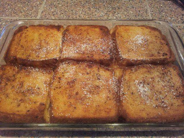 Fremch toast bake   lauer pan with bread poir 1/3 egg mixtute   repeat two more layers  bake at  375 for 15-25 minutes     egg mixture: 4-6 eggs (depemdingon pan size )  with 1 part milk cinnamon   Whisk throughly before isomg