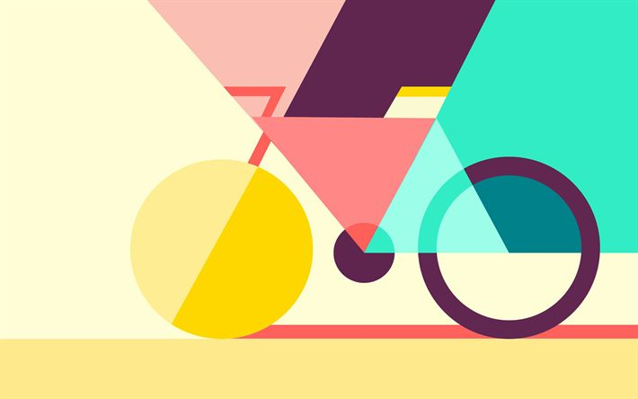 Download wallpapers bicycle, geometric figures, art, geometry, creative, design material, abstract material