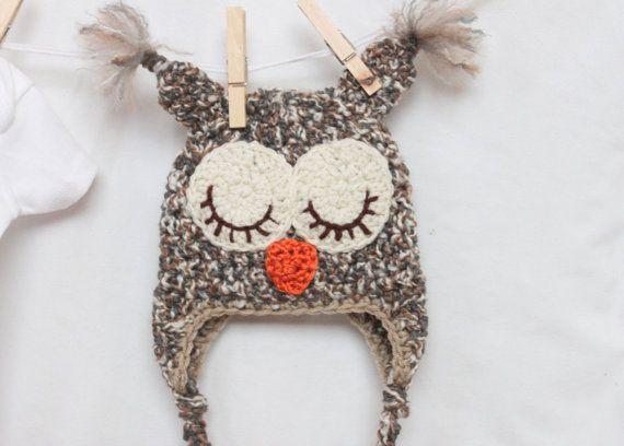 Woodsy Owl Hat   Gender Neutral Hat  Photo Prop by CozyCuteCrochet, $24.00 love the wispy ear fluff!