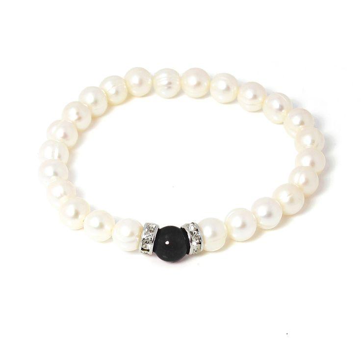 Brățară Orchira perle de cultură cu jad negru