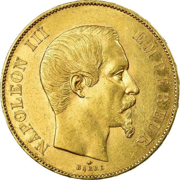 Coin France Napoleon Iii 50 Francs 1855 Strasbourg Au