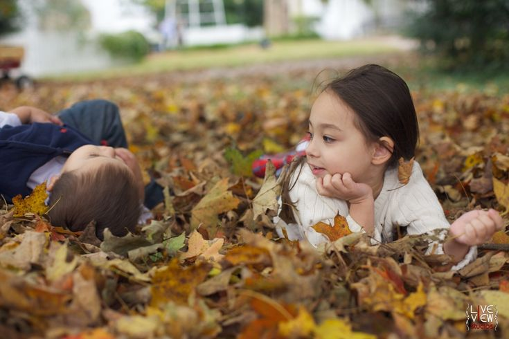 siblings sharing secrets in fall leaves - #fall #winter #autumn #family photography -  raleigh nc family photographers