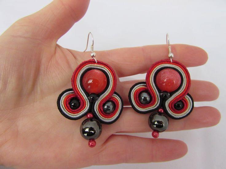 Red glitter ball with hematite beads earrings soutache