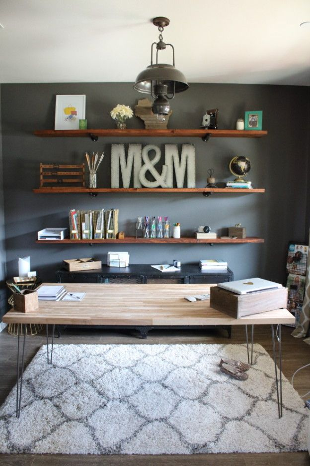DIY Industrial Wood Office Shelving | Modish and Main
