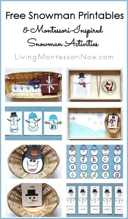 Lots of free snowman printables for preschoolers through 1st graders . You'll also find ideas for Montessori-inspired snowman activities that work well throughout the winter.