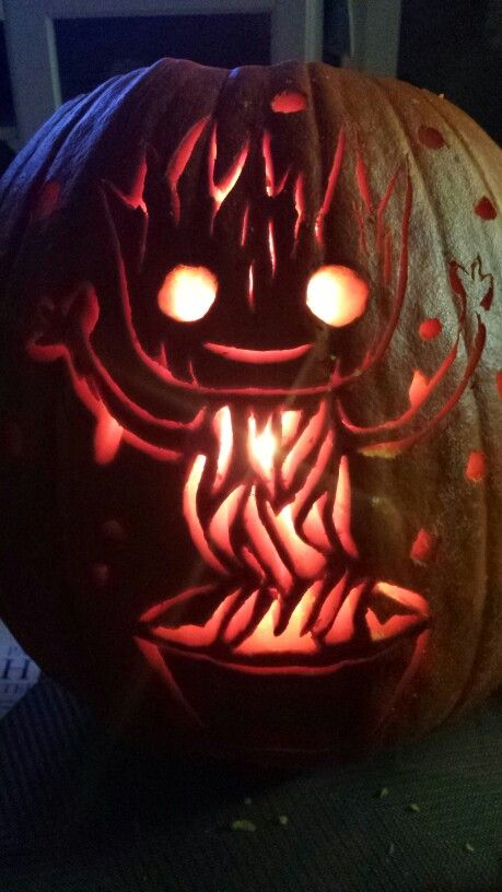 BABY GROOT!  PUMPKIN CARVING