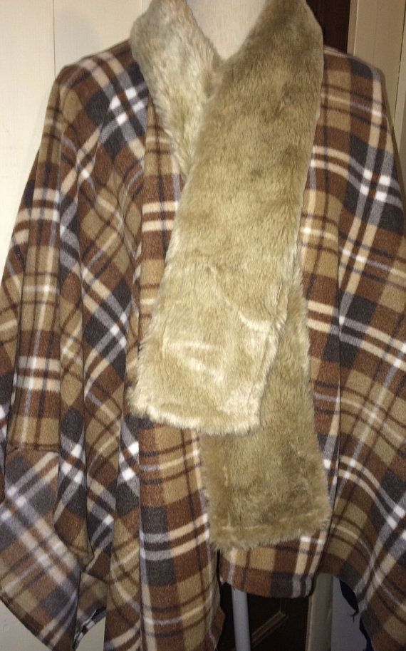 Brown Plaid Fleece Cape/Poncho with Faux Fur by reconstruKteD