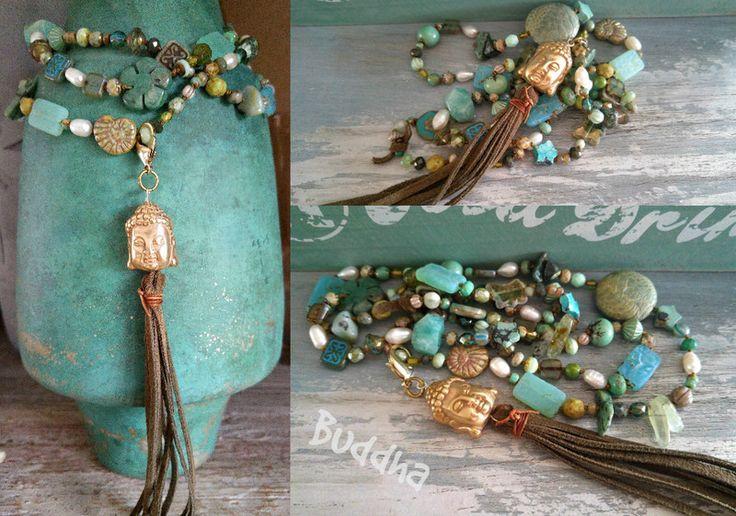 Ketten lang - Tolle lange KETTE ★ BUDDHA ★ grün Wildleder Quaste - ein Designerstück von charm_one bei DaWanda